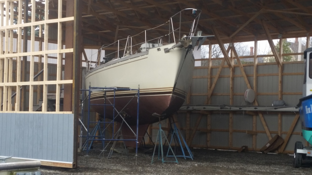 Steel boat waiting to be refurbished- Winterport Boat Yard - Maine